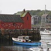 Rockport Inner Harbor With Lobster Fleet And Motif No.1 Art Print