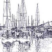 Rockport Sailboats - Photo Shetch Art Print