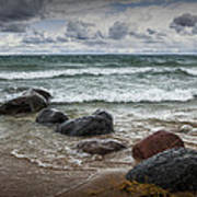 Rocks And Waves At Wilderness Park In Sturgeon Bay Art Print