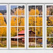 Rocky Mountain Autumn Ranch White Window View Art Print