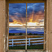 Rocky Mountain Country Beams Of Sunlight Rustic Window Frame Art Print