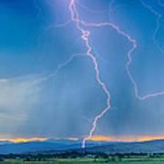 Rocky Mountain Foothills Lightning Strikes 2 Hdr Art Print
