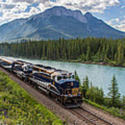 Rocky Mountaineer At Muleshoe On The Bow River Art Print by Steve Boyko