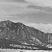 Rocky Mountains Flatirons And Longs Peak Panorama  2 Art Print