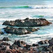 Rocky Ocean Shoreline One Art Print