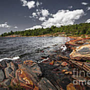 Rocky Shore Of Georgian Bay I Print by Elena Elisseeva