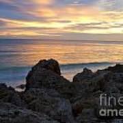 Rocky Shoreline At Sunset Art Print