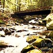 Rocky Stream With Bridge Art Print