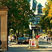 Roddick Gates Painting Mcgill University Art Students Stroll The Grand Montreal Campus C Spandau Art Print