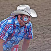 Rodeo Clown Cowboy In Dust Art Print by Valerie Garner