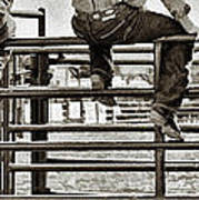 Rodeo Fence Sitters- Sepia Art Print