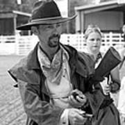 Rodeo Gunslinger With Saloon Girls Bw Art Print
