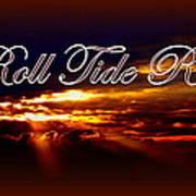 Roll Tide Roll W Red Border - Alabama Art Print