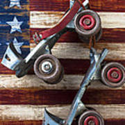 Rollar Skates With Wooden Flag Art Print