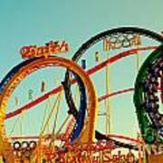 Rollercoaster At The Octoberfest In Munich Art Print