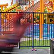 Rollercoasters At Amusement Park Art Print