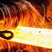 Rolling A Rail At A Steel Mill Art Print