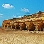 Roman Aqueduct From Mount Carmel 12 Km Away To Mediterranean Shore In Caesarea-israel  Art Print