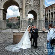 Roman Colosseum Bride And Groom Art Print