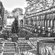 Roman Gardens In The Fall - Bw Art Print