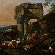 Roman Landscape With Cattle And Shepherds Art Print by Johann Heinrich Roos