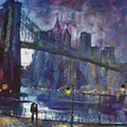 Romance By East River Nyc Art Print