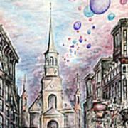 Romantic Montreal Canada - Watercolor Pencil Art Print