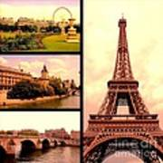 Romantic Paris Sunset Collage Art Print