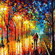 Romantic Stroll - Palette Knlfe Oil Painting On Canvas By Leonid Afremov Art Print