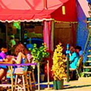 Romantic Terrace Dinner Date Piazzetta Bistro Rue St Denis French Cafe Street Scene Carole Spandau  Art Print