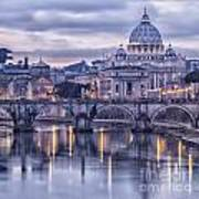 Rome And The River Tiber At Dusk Art Print