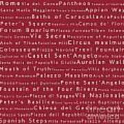 Rome In Words Red Art Print