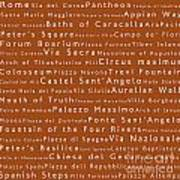 Rome In Words Toffee Art Print
