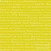 Rome In Words Yellow Art Print