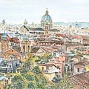 Rome Overview From The Borghese Gardens Art Print by Anthony Butera