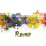 Rome Skyline In Watercolor Art Print