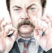 Ron Swanson Mustache Portrait Art Print