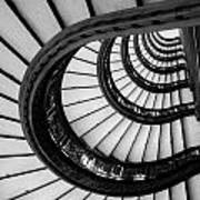 Rookery Building Looking Up The Oriel Staircase - Black And White Art Print