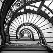 Rookery Building Oriel Staircase - Black And White Art Print