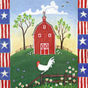 Rooster Americana Art Print by Linda Mears