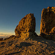 Roque Nublo Farther And Sun Monoliths At Sunset Art Print by Ben Spencer