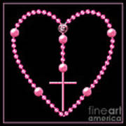 Rosary With Pink And Purple Beads Art Print