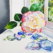 Rose And Glass Rocks Art Print