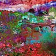 Rose Bridge Landscape Art Print