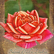 Rose Greeting Card With Verse Art Print