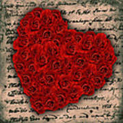Rose Heart And Letter Art Print