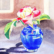 Rose In The Blue Vase  Art Print
