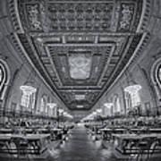 Rose Main Reading Room At The Nypl Bw Art Print