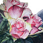 Watercolor Of A Bouquet Of Pink Roses I Call Rose Michelangelo Art Print