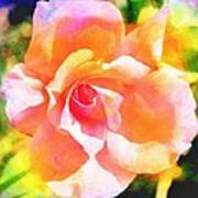 Rose On Canvas  Art Print by Cathie Tyler